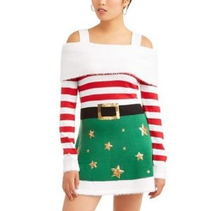 Women's ugly Holiday Sweater smart elf dress NWT